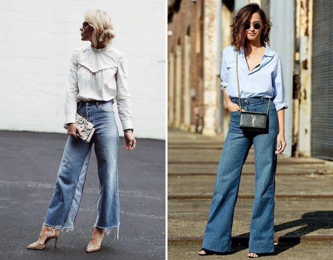 джинсы клеш от бедра