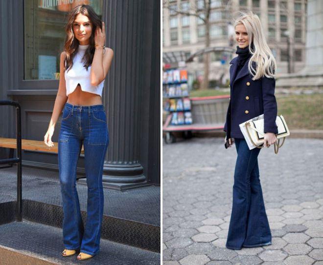 женские джинсы клеш от колена 2018