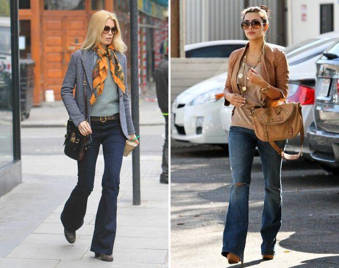 с какой обувью носить джинсы клеш 2018