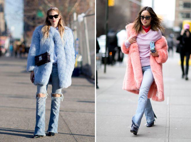 с чем носить джинсы клеш зимой
