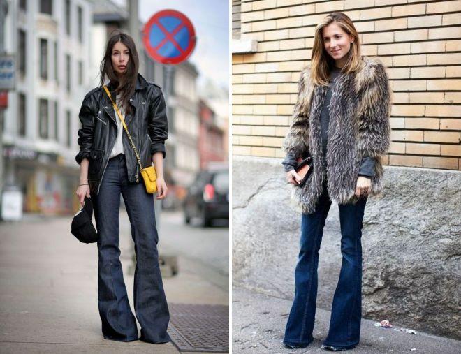 с чем носить джинсы клеш зимой 2018