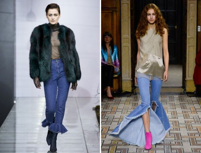 джинсы клеш с высокой талией
