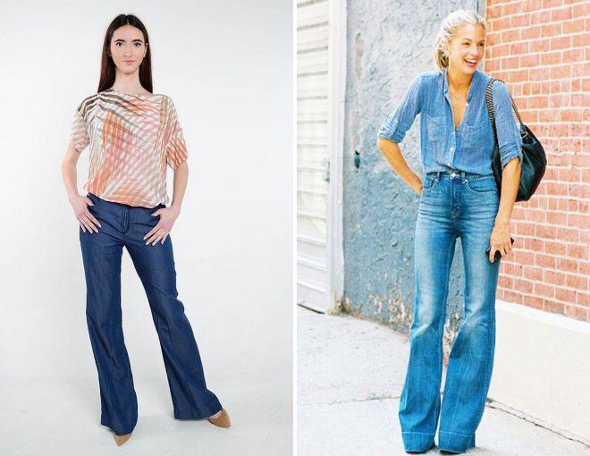 расклешенные джинсы с завышенной талией 2018