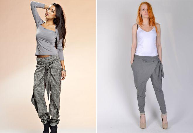 женские штаны с мотней и запахом