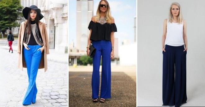 С чем носить синие широкие брюки идеи
