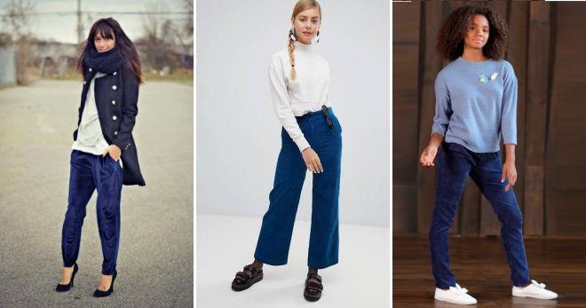 С чем носить женские синие вельветовые брюки