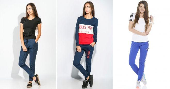 С чем носить спортивные синие брюки варианты