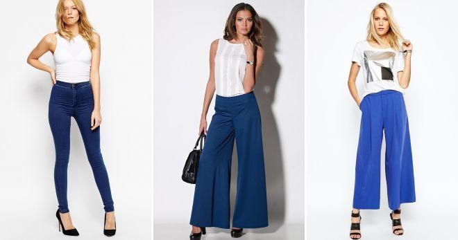 С чем носить женские синие брюки белый