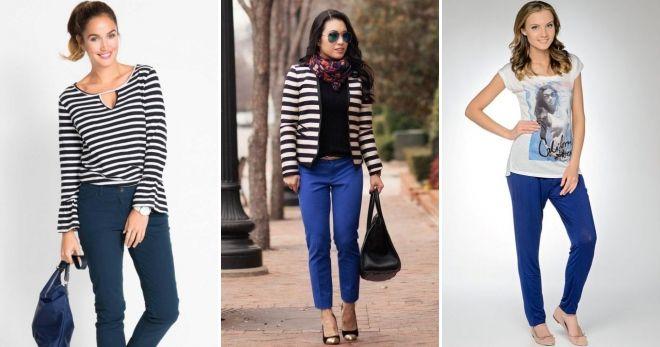 С чем носить женские синие брюки черный с белым