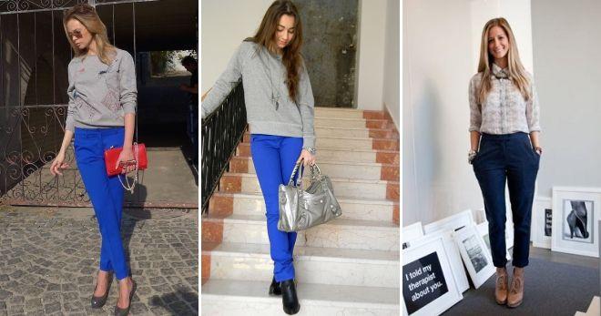 С чем носить женские синие брюки серый