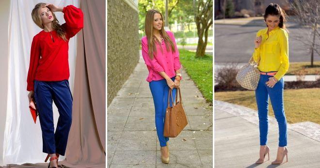 С чем носить женские синие брюки яркий
