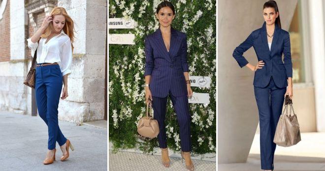 С чем носить синие классические брюки
