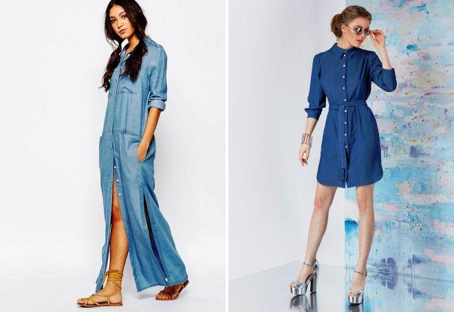 5be0e85752f Стильное платье рубашка 2017 – джинсовое