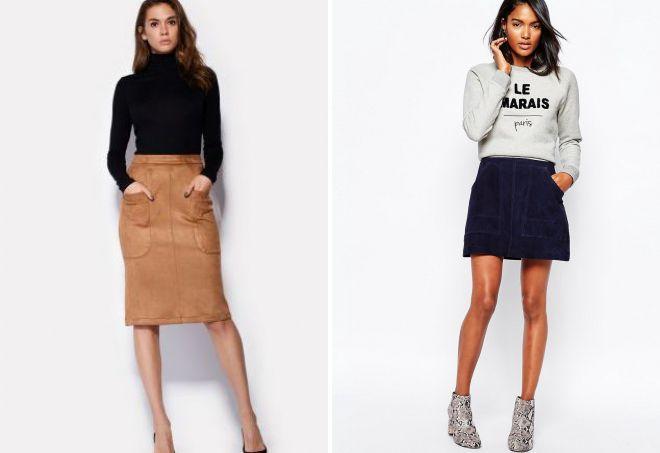 замшевая юбка с карманами