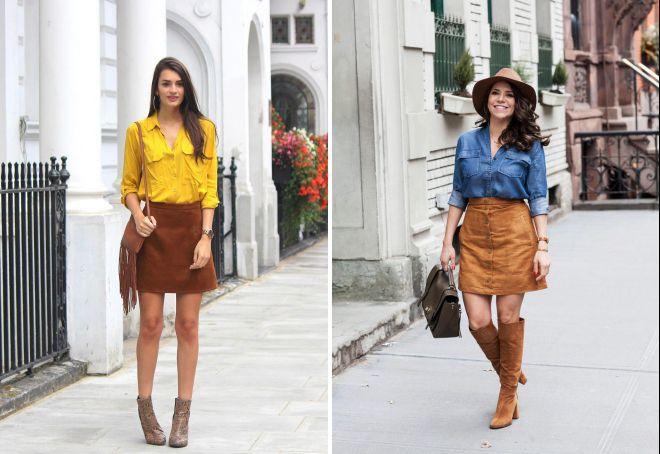 замшевая юбка с чем носить