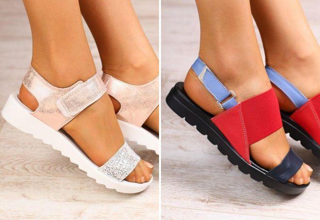 женские босоножки на липучках без каблука