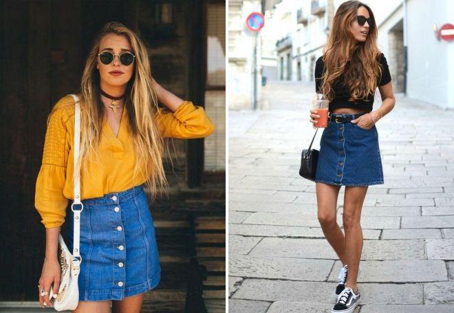 джинсовая юбка с пуговицами впереди
