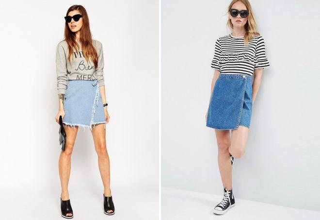 джинсовая юбка с запахом