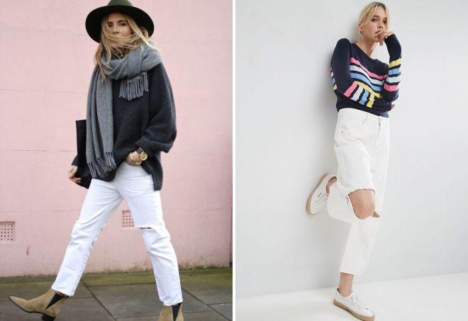 белые джинсы бойфренды