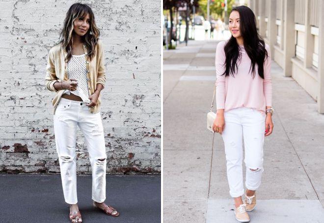 белые джинсы с кедами