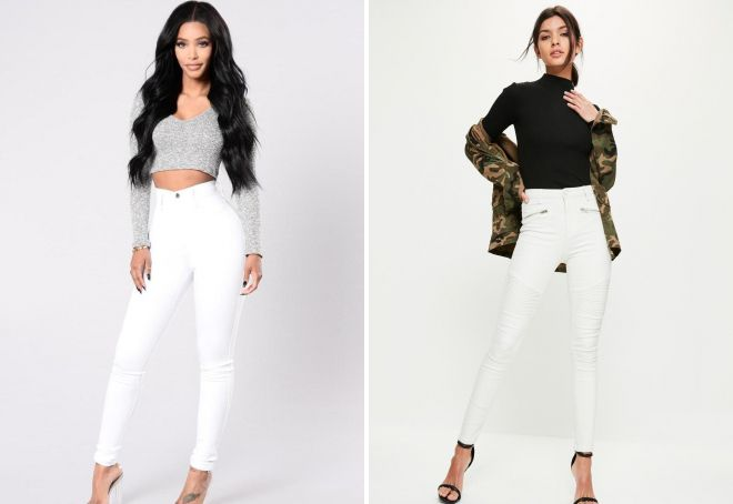 женские узкие белые джинсы
