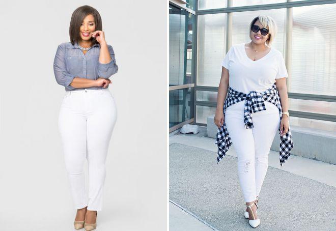 белые джинсы для полных