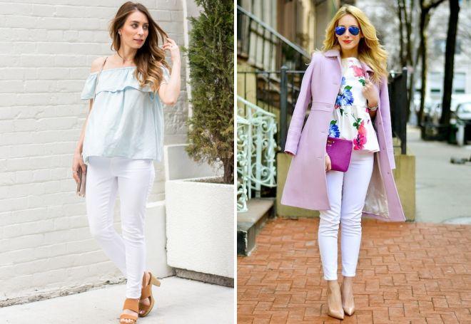 белые зауженные джинсы