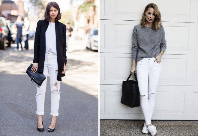 какую обувь носить с белыми джинсами