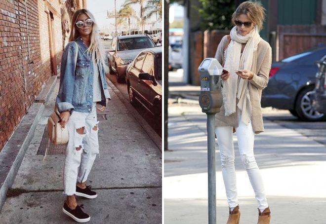 белые рваные джинсы