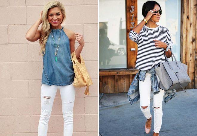 белые джинсы с дырками на коленях