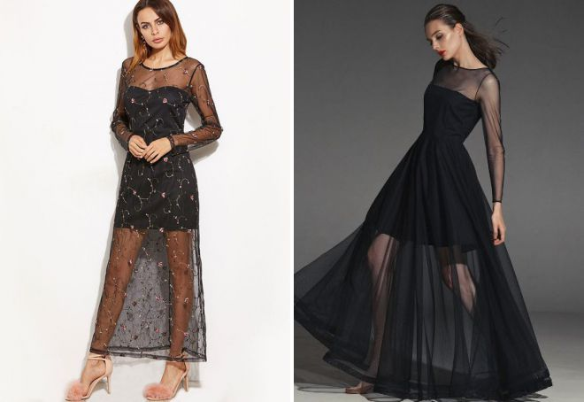 прозрачное летнее вечернее платье