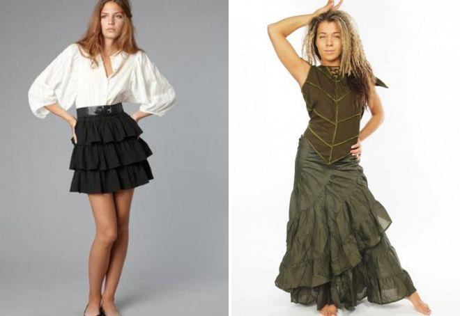 летние многослойные юбки