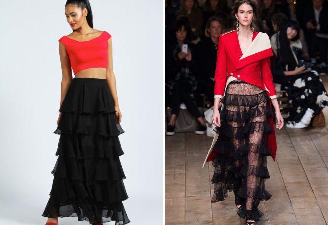стильная многослойная юбка