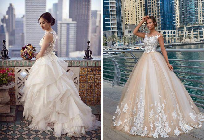 многослойная свадебная юбка