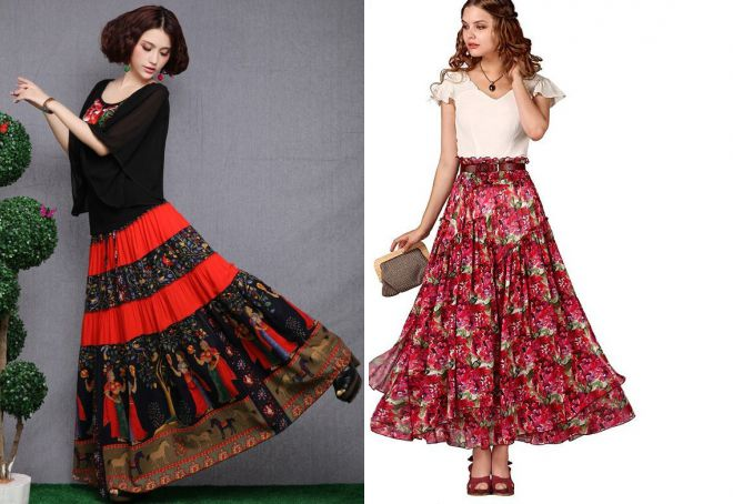 летняя многослойная юбка