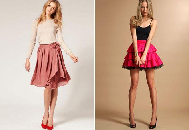 короткая многослойная юбка