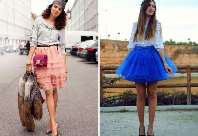 многослойная мини юбка