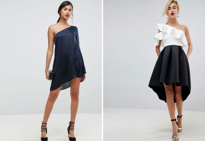 асимметричное платье на одно плечо