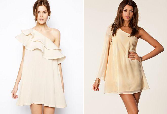 модное платье на одно плечо