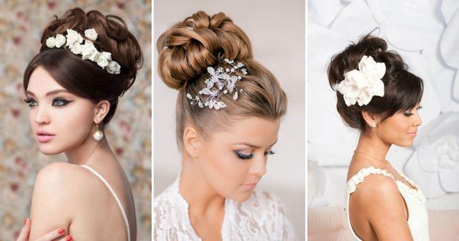 Модные свадебные прически на длинные волосы – распущенные, с начесом, цветами, диадемой, фатой