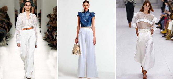 Белые брюки прямые женские