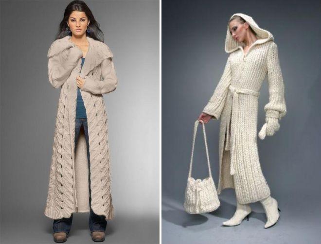 вязаное пальто в пол