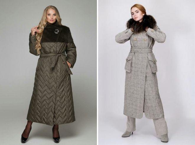 стеганое пальто в пол
