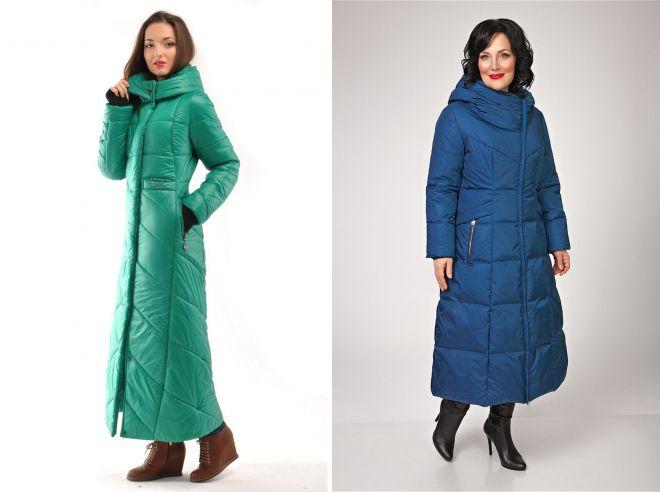 женское зимнее пальто в пол