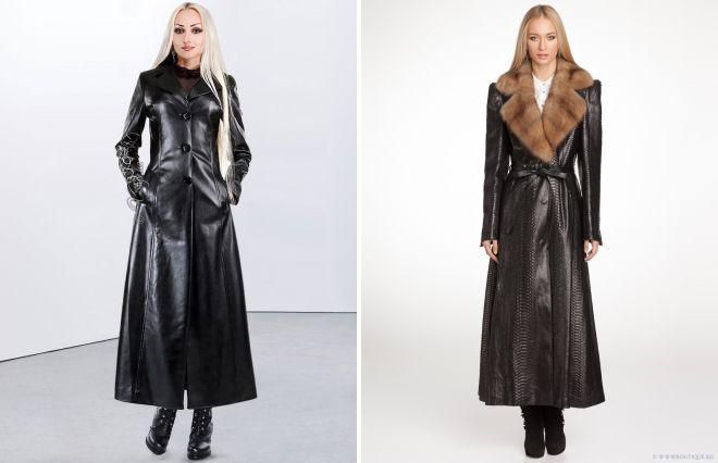 кожаное пальто в пол
