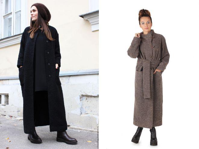 шерстяное пальто в пол
