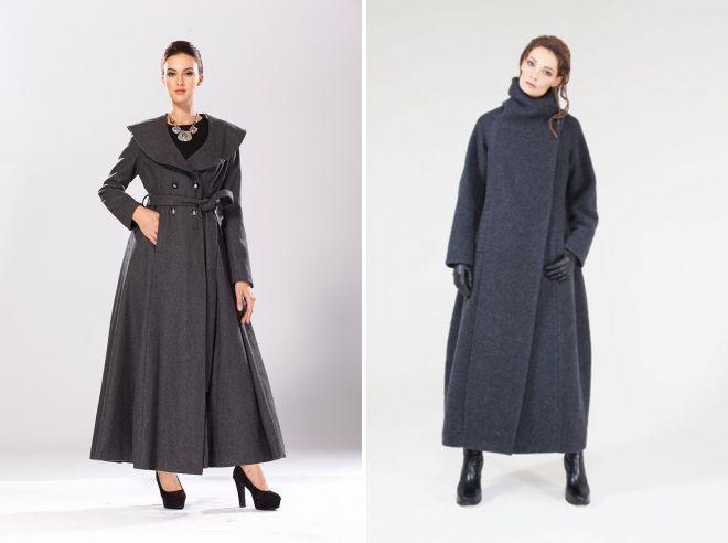 женские длинные шерстяные пальто в пол