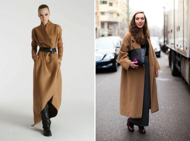 длинное зимнее пальто в пол