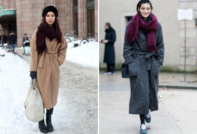 с каким шарфом носить пальто в пол