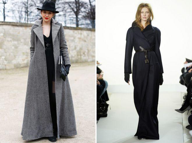 женское длинное пальто в пол